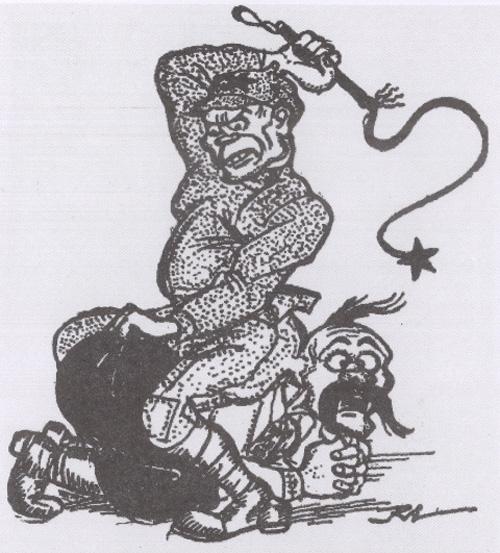 Андерсен Р. Після процесів у Харкові (польська політична карикатура, 1930 р.) Більшовик: – Брат, українець, ти маєш прийняти мою культуру